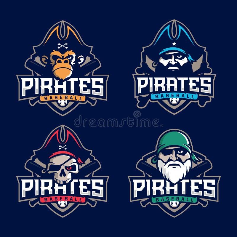 Modern professional set emblem pirates for baseball team stock photo