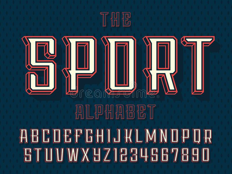 Modern professional vector 3d alphabet sport. Custom typeface royalty free illustration