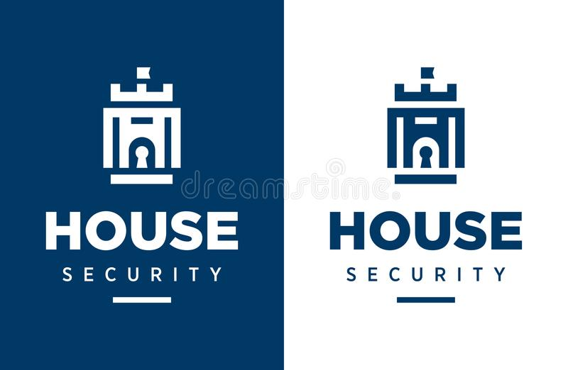 Modern professional vector logo house security in blue theme royalty free illustration