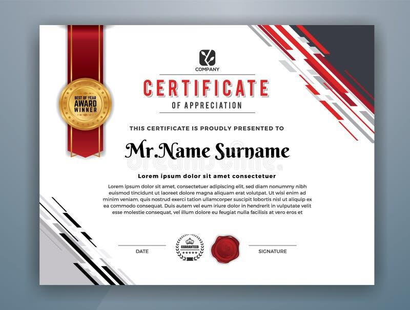 Modern Professioneel Certificaatmalplaatje royalty-vrije illustratie
