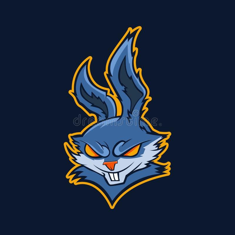 Modern professioneel embleem voor sportteam Kwade konijnmascotte Konijnen, vectorsymbool op een donkere achtergrond stock illustratie