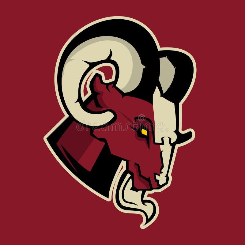 Modern professioneel embleem voor sportteam Ram Mascot Rammen, vectorsymbool op een donkere achtergrond vector illustratie