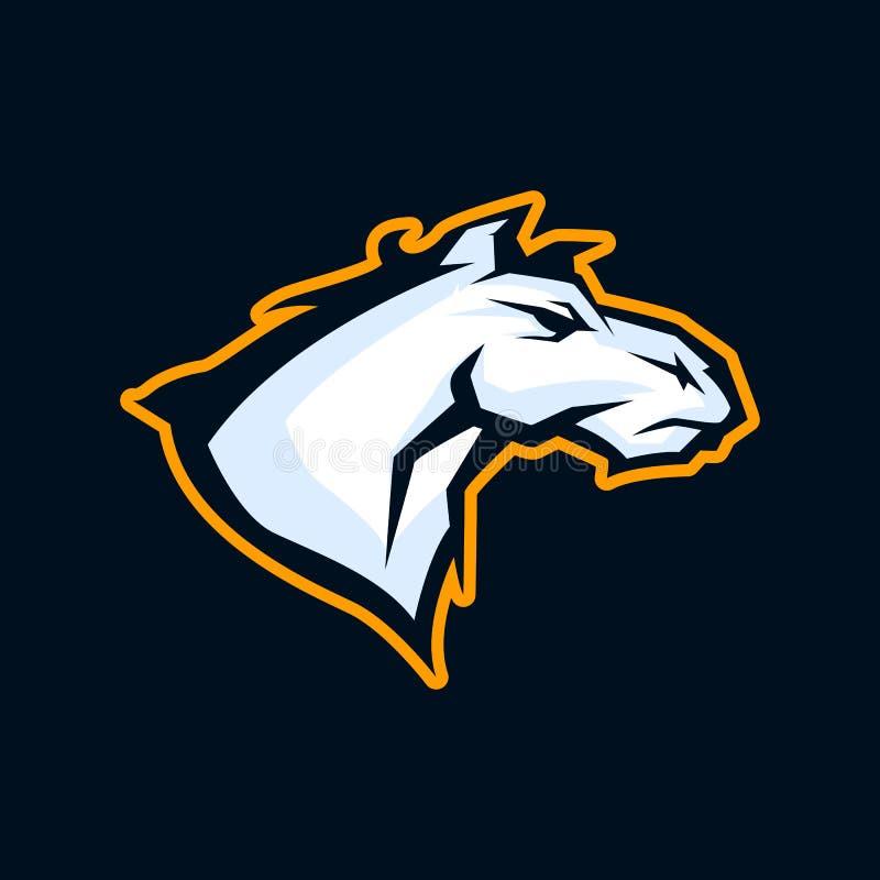 Modern professioneel embleem voor sportteam Wild paardmascotte Hengst vectordiesymbool op een donkere achtergrond wordt geïsoleer vector illustratie
