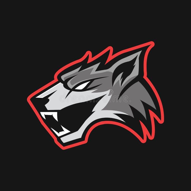 Modern professioneel embleem voor sportteam Wolfsmascotte Wolven, vectorsymbool op een donkere achtergrond royalty-vrije illustratie