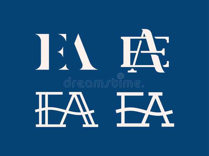 Modern professioneel vectorembleemea monogram in blauw thema royalty-vrije illustratie