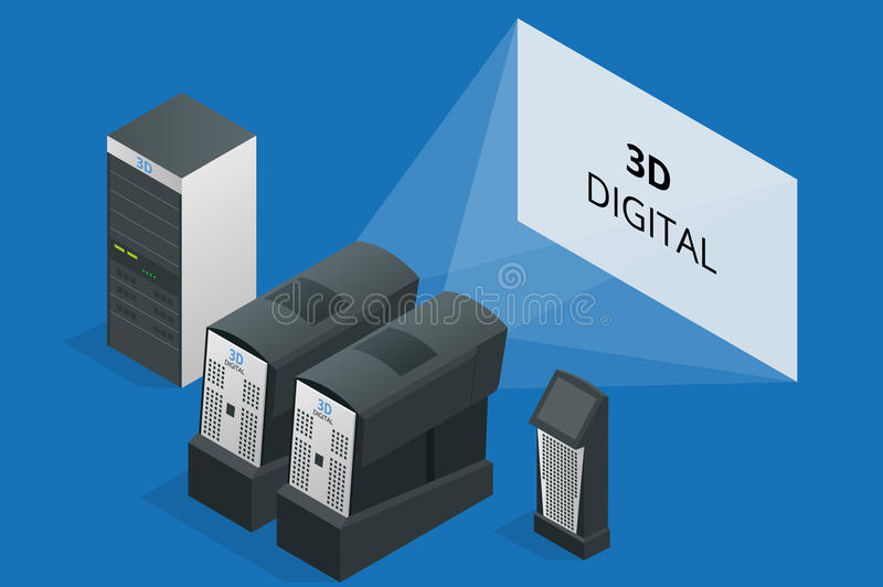 Modern projector in cinema. Cinematographic equipment. 3d digital. Flat 3d isometric vector illustration. 3d digital royalty free illustration