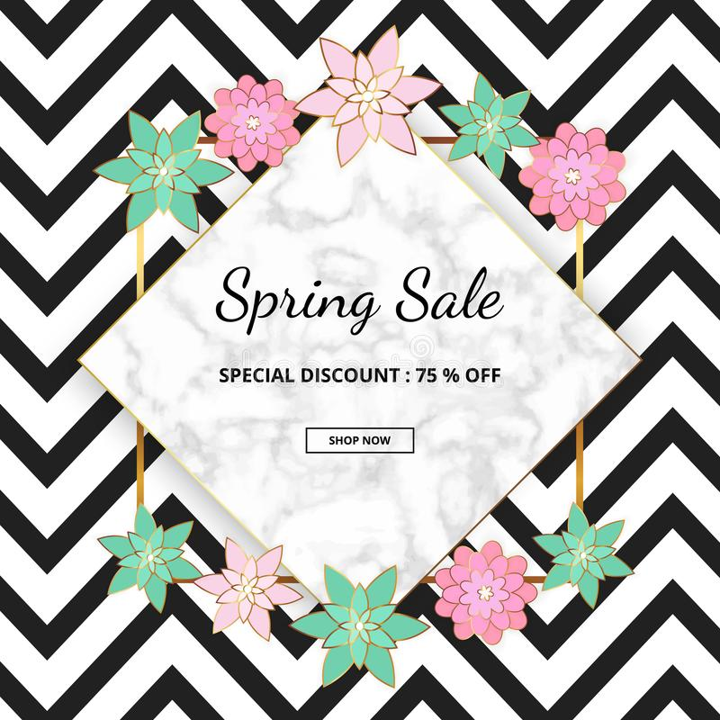 Modern promotion spring sale banner with marble texture and pink, green flowers on the zigzag white and black background. Template royalty free illustration