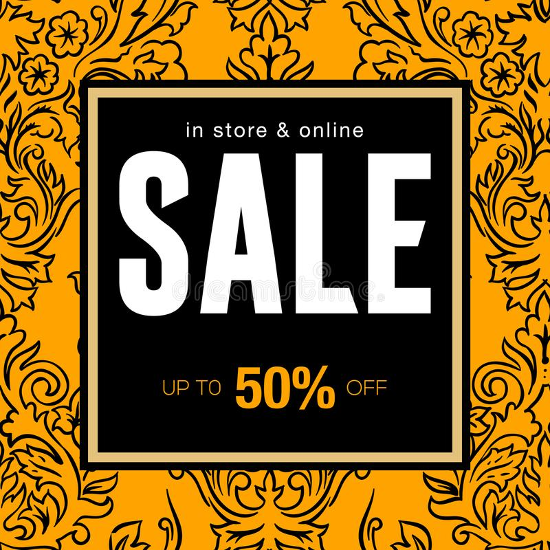 Modern promotion square web banner for social media mobile apps. Elegant sale and discount promo backgrounds with vector illustration