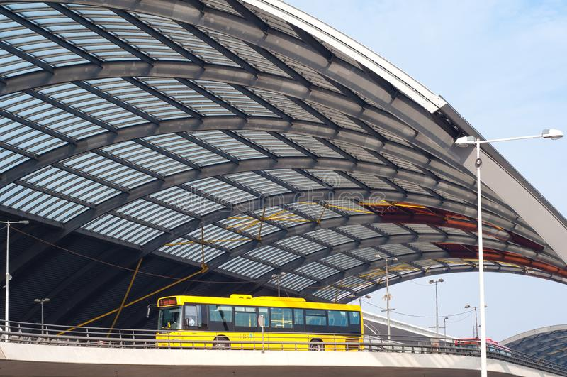 Modern public bus in Amsterdam. Amsterdam, Netherlands, modern public bus on a bridge