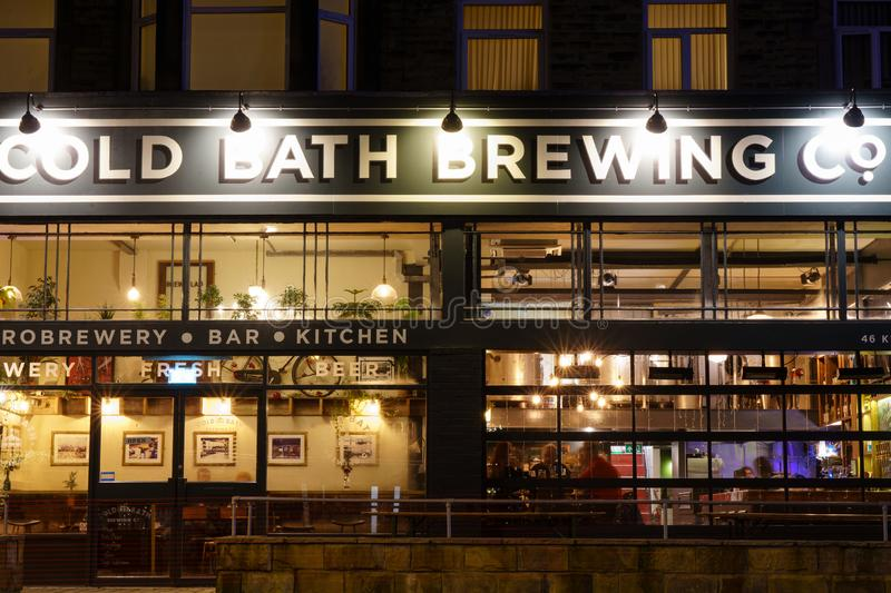 Modern Public House in Harrogate at Night. stock photography