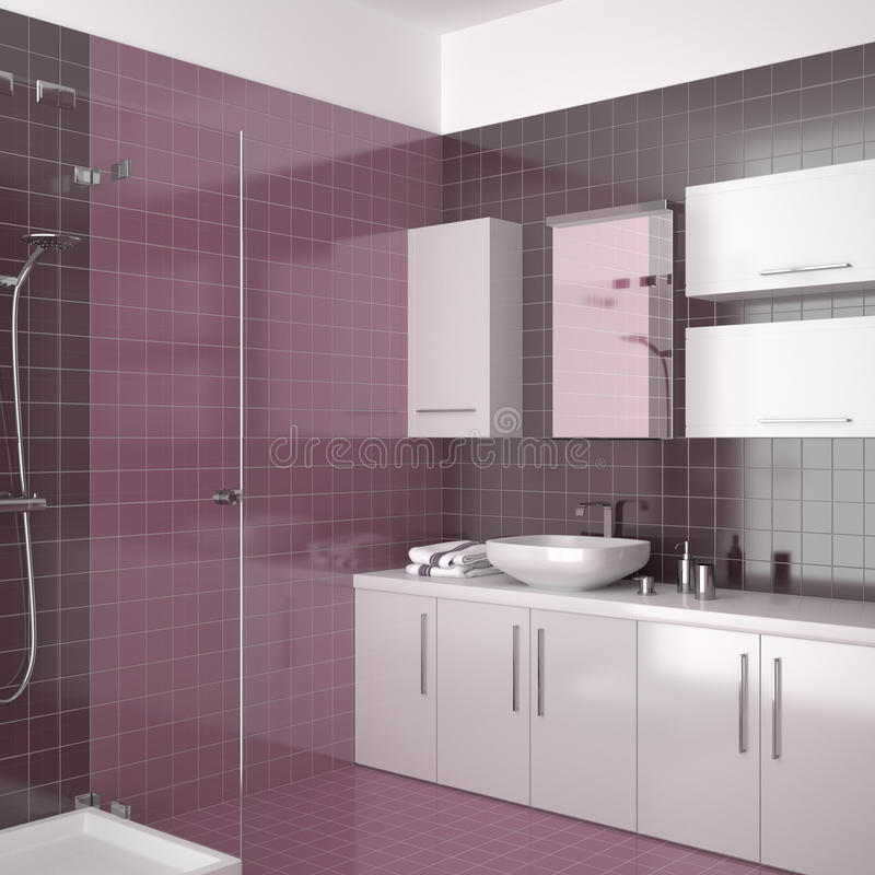 Modern purple bathroom with white furniture vector illustration