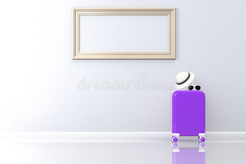 Modern purple suitcases bag with sun glasses, hat and picture frame on white background. Travel concept. Vacation trip. Copy space. Minimal style. 3D rendering royalty free illustration