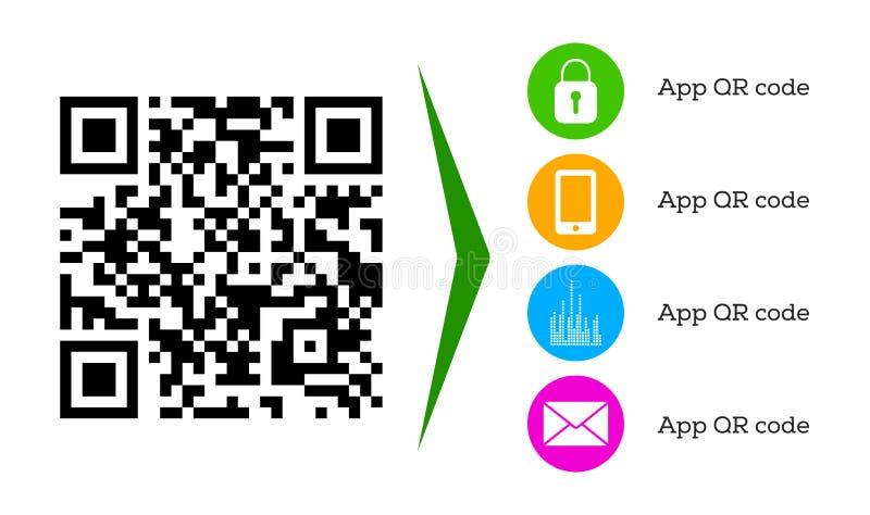 Modern QR-kod för den mobila appen som nedladdar och avläser, websiteonline-shopping, cashless betalningteknologi vektor illustrationer