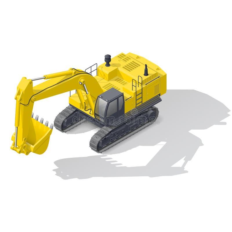 Modern quarry tracked excavator icon. Modern quarry tracked excavator isometric icon vector graphic illustration design vector illustration
