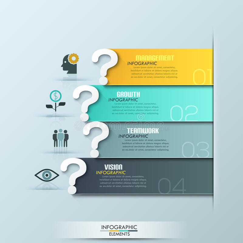 Modern question ribbon infographics options banner. Vector illustration. can be used for workflow layout, diagram, number options, web design stock illustration
