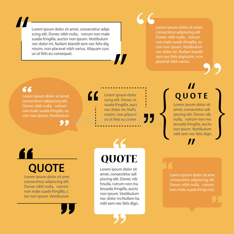 Modern quote text template design elements vector illustration