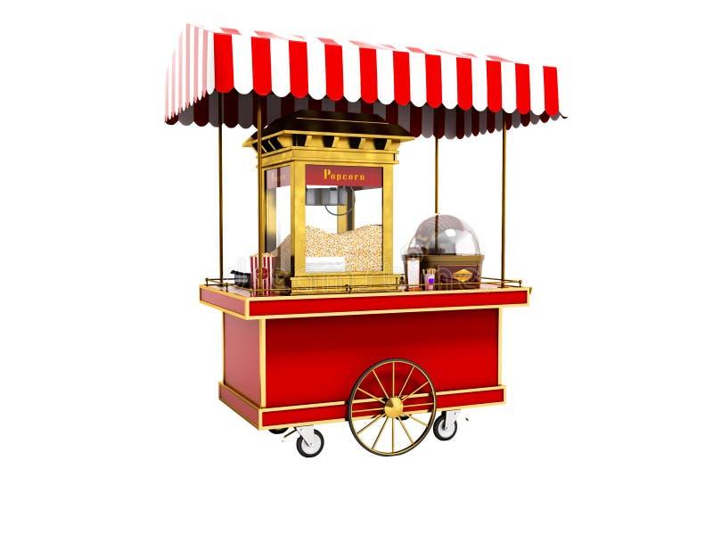 Modern röd tolkning för popcornmaskin 3d på vit bakgrund inget s royaltyfri illustrationer
