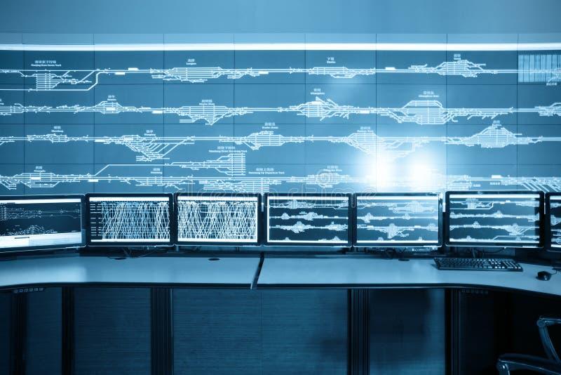 Modern railway control room. Electronic technology stock image