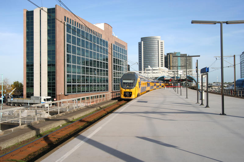 Modern Railway Station. Train at modern Railway Station of Amsterdam Sloterdijk, Holland royalty free stock photography