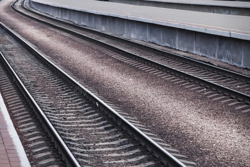 Modern railway track. The Modern a railway track stock image