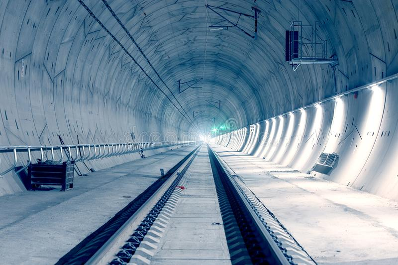 Modern railway tunnel with green signal light. Ejpovicke tunely/Ejpovice tunnels. Modern technology royalty free stock photos
