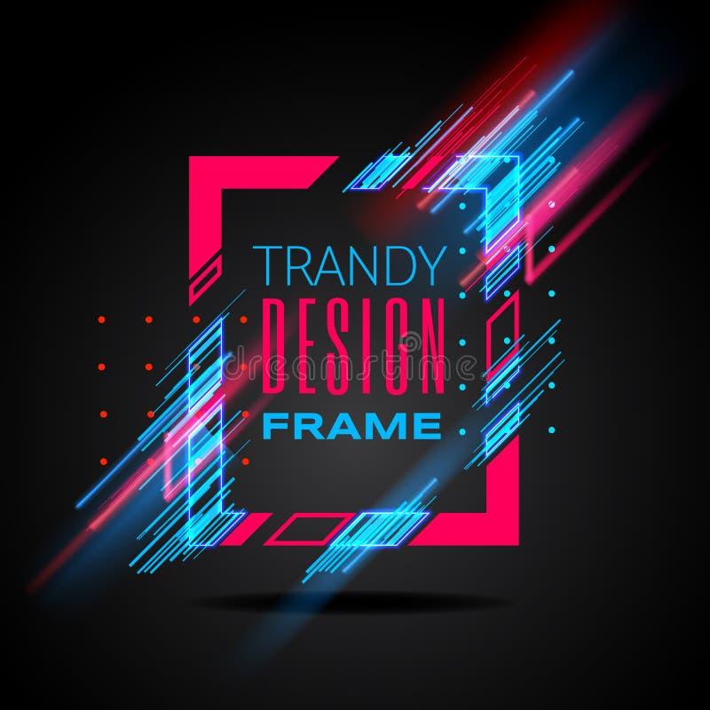 Modern ram för vektor med glödande linjer för geometriskt neon som isoleras på svart bakgrund Konstdiagram med tekniskt feleffekt stock illustrationer