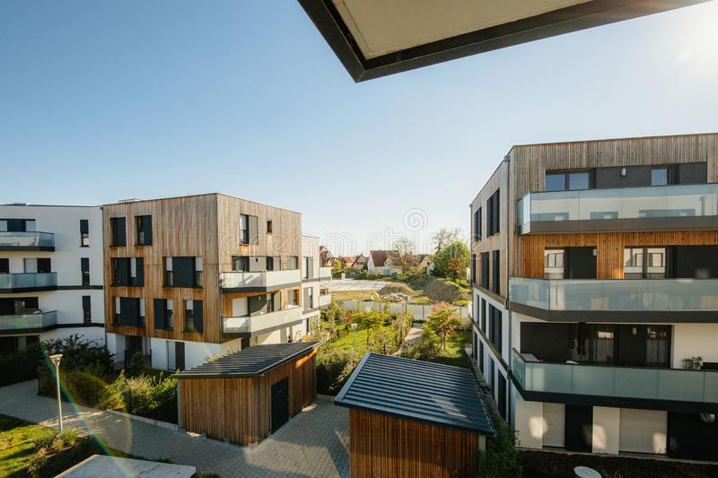 Modern real estate apartment buildings stock photography