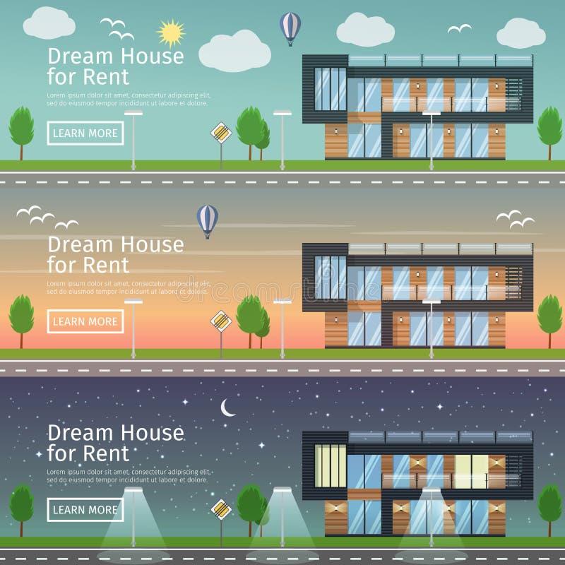 modern Real Estate bij verschillende tijdendag royalty-vrije illustratie