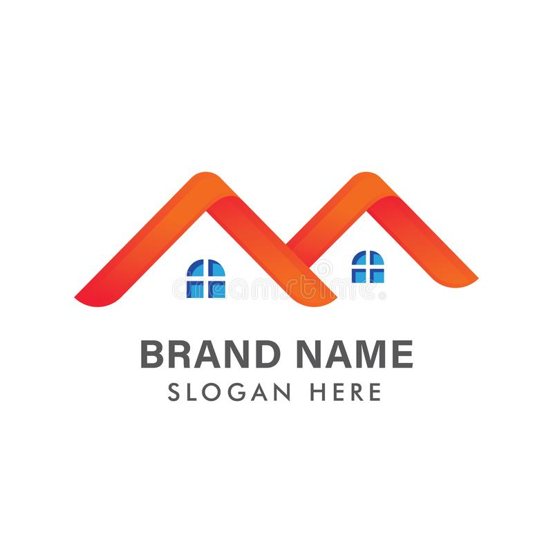 Modern Real Estate logodesign/id?rikt hus Logo Design/abstrakta byggnader Logo Design royaltyfri illustrationer