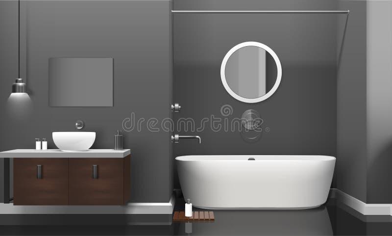 Modern realistisk badruminredesign vektor illustrationer
