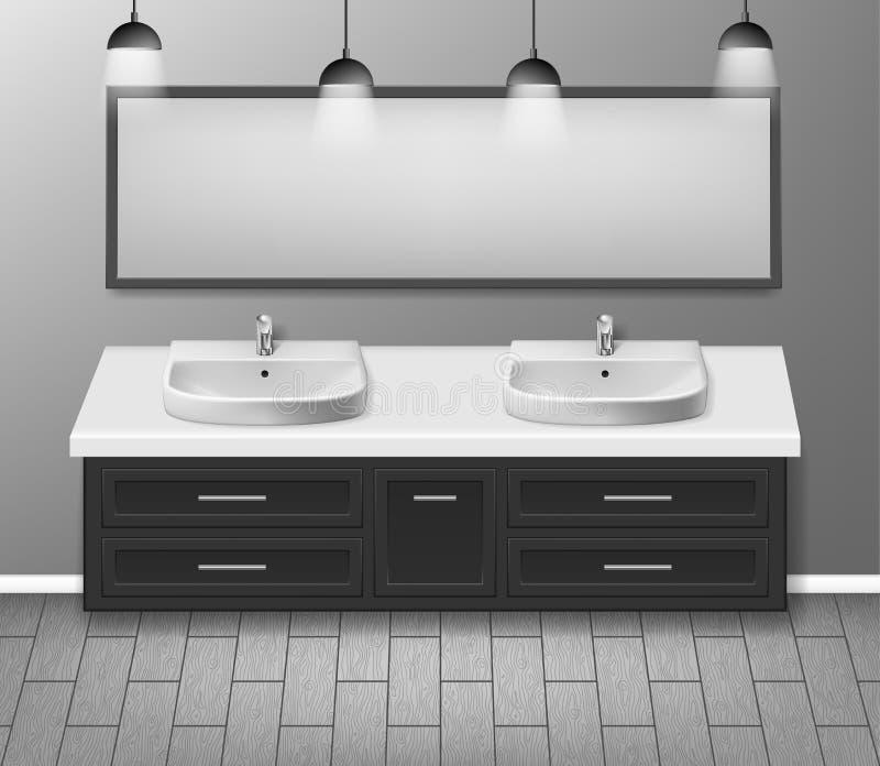 Modern realistisk badruminredesign Badrummöblemang med badrumvasken och grå vägg för spegel med trägolvet royaltyfri illustrationer