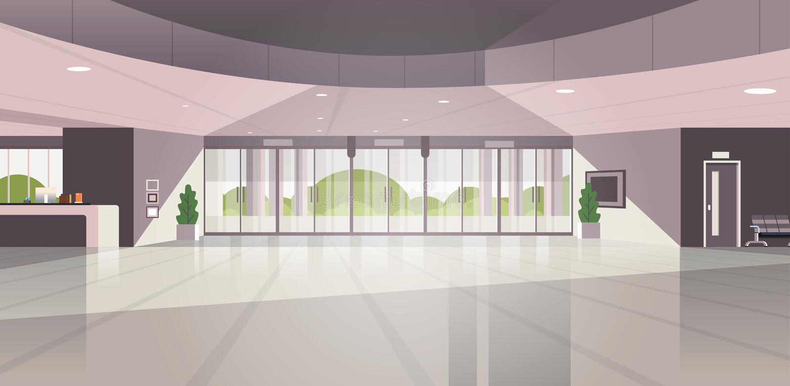 Modern reception area empty no people lobby contemporary hotel hall interior flat horizontal vector illustration