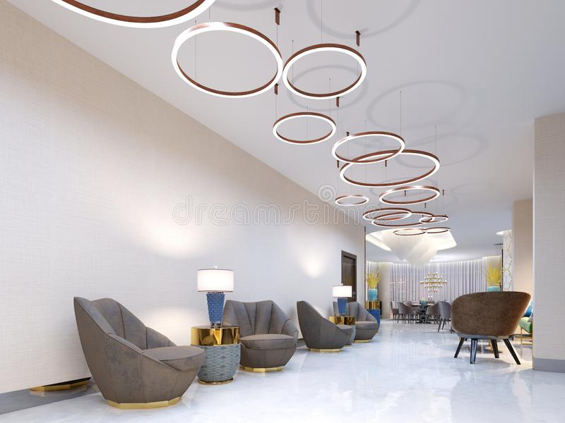 A modern reception area with large upholstered designer armchairs and a large chandelier of golden rings. Side tables with lamps royalty free illustration