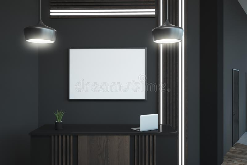 Blank frame above reception desk. Modern reception desk with white blank frame above in loft office. 3D render royalty free illustration