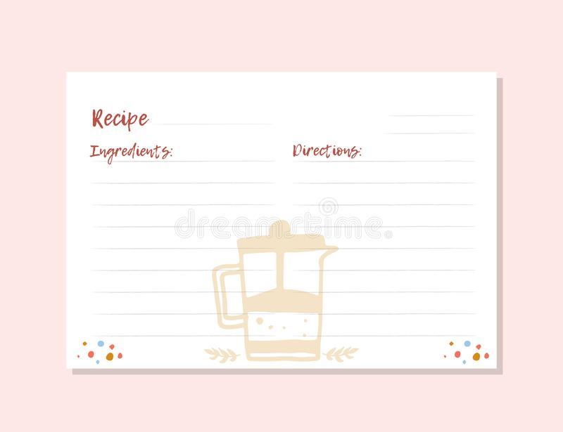 Modern Recipe card template for instant print cookbook. A4 format. Menu Creator Vector Illustration. Kitchen food. Template royalty free illustration