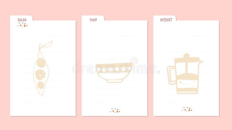 Modern Recipe card template for instant print cookbook. Menu Creator Vector Illustration. Kitchen food template.  vector illustration