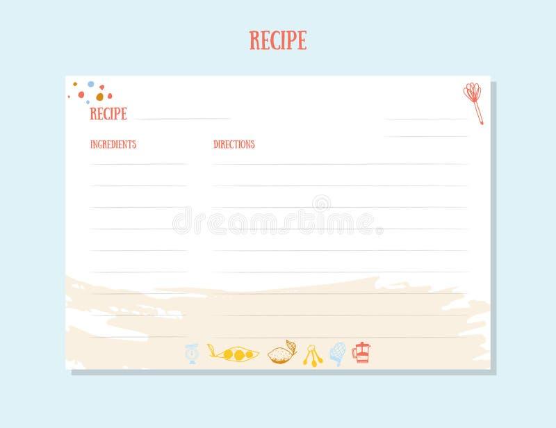 Modern Recipe card template set for cookbook. Menu Creator Vector Illustration. Kitchen food template.  vector illustration