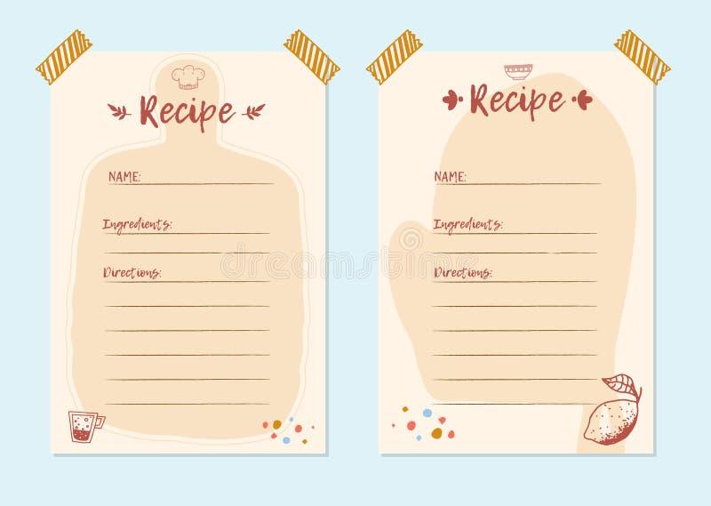 Modern Recipe card template set for cookbook. Menu Creator Vector Illustration. Kitchen food template.  royalty free illustration