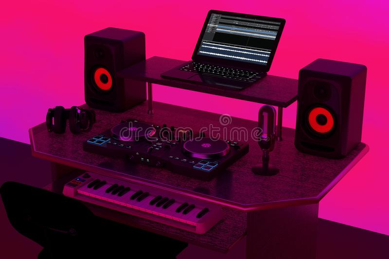 Modern Recording Music Home Studio, Dj Workplace with Electronic Equipment and Instruments. 3d Rendering. Modern Recording Music Home Studio, Dj Workplace with vector illustration