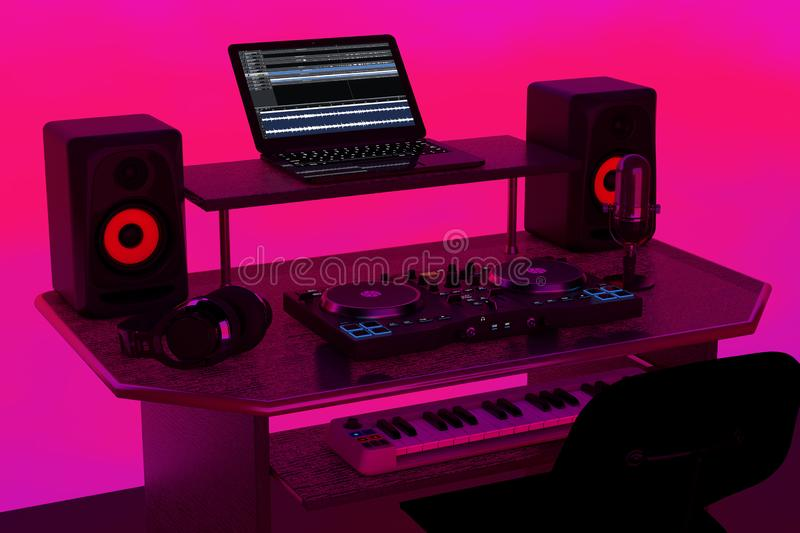 Modern Recording Music Home Studio, Dj Workplace with Electronic Equipment and Instruments. 3d Rendering. Modern Recording Music Home Studio, Dj Workplace with stock illustration