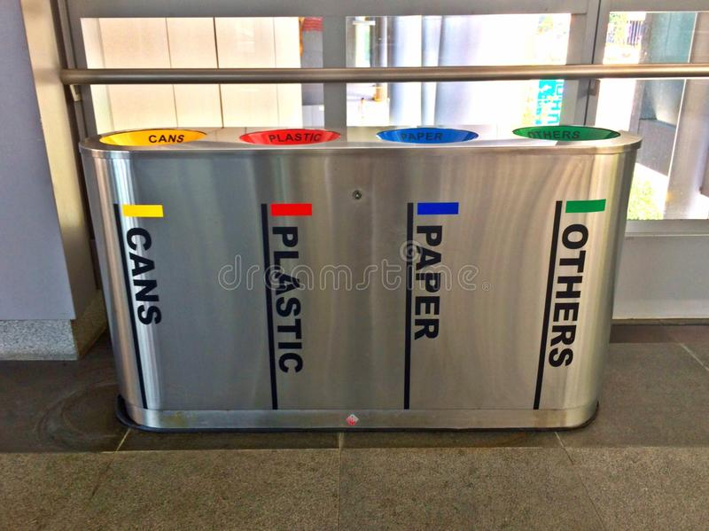 Modern recycle bins. For discarding recyclable waste, such as cans, plastic, paper and others stock images