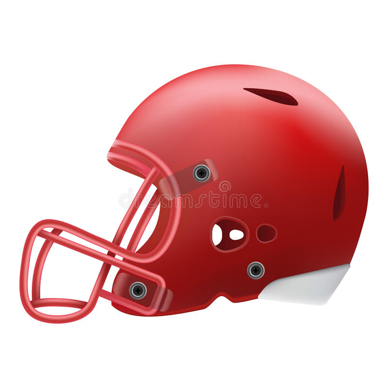 Modern Red American Football Helmet Side View Isolated On A White Background. Vector Illustration. American Football Equipment vector illustration