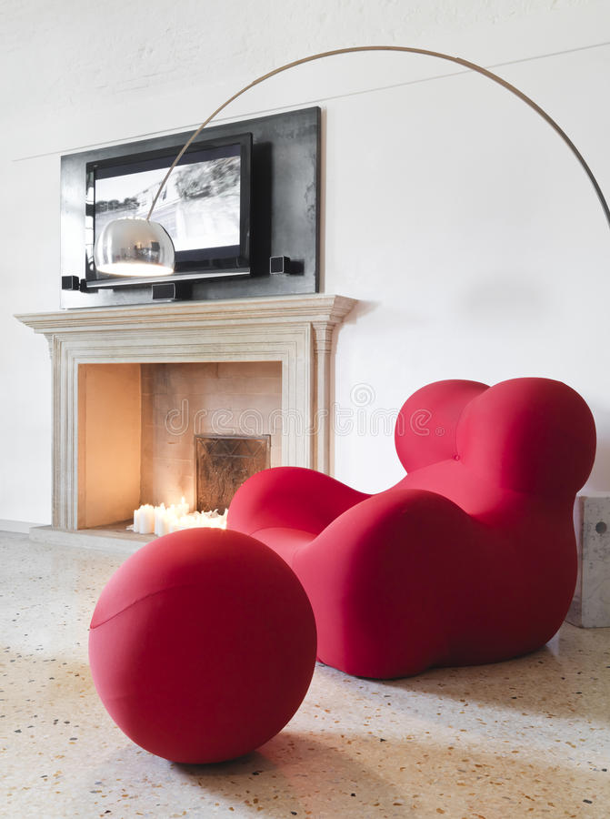 Download Modern Red Armchair In Living Room Stock Image   Image Of Color,  Living: