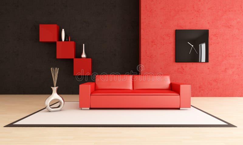 Modern red and black living room vector illustration