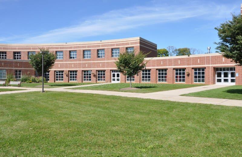 Modern red brick school royalty free stock photo