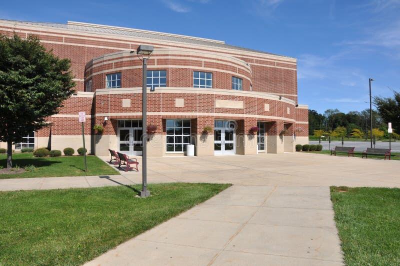 Modern red brick school building stock photography