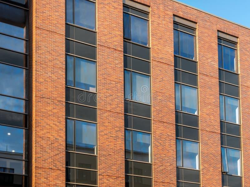 Modern red brick wall apartment stock photo