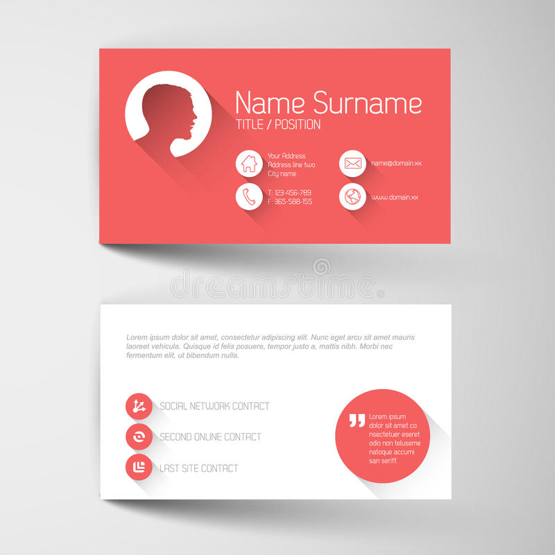 Modern red business card template with flat user interface. Modern simple red business card template with flat user interface stock illustration