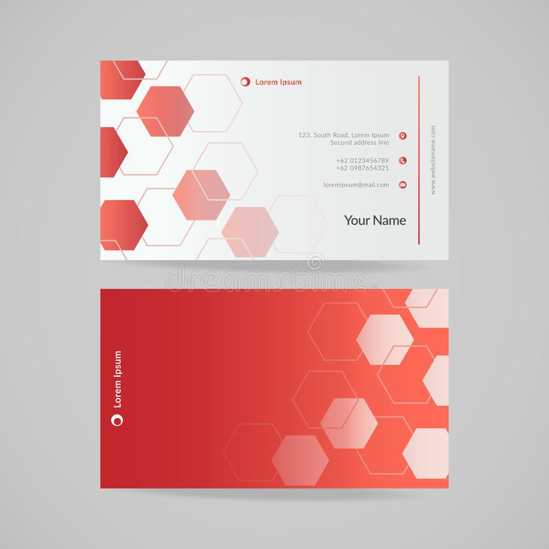 Modern red business card template with polygon pattern, vector illustration. stock illustration