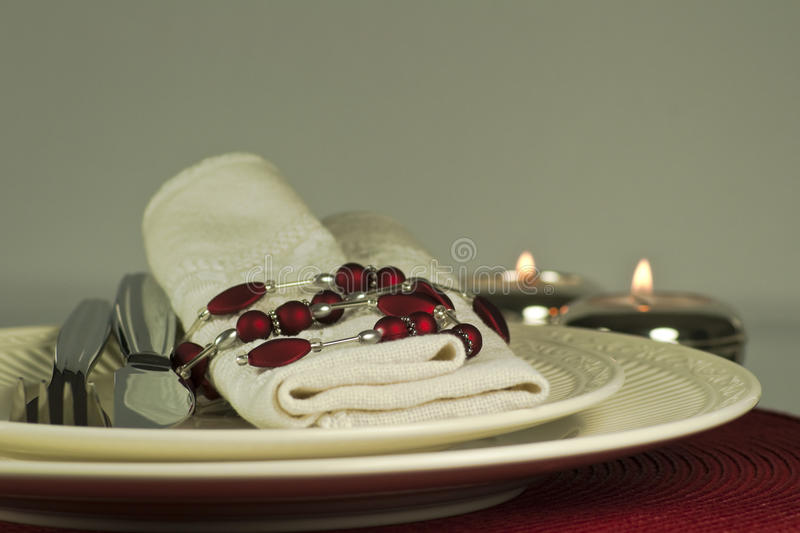 Download Modern Red Candlelit Table Place Setting, Close Up Royalty Free Stock Images - Image: 14911749